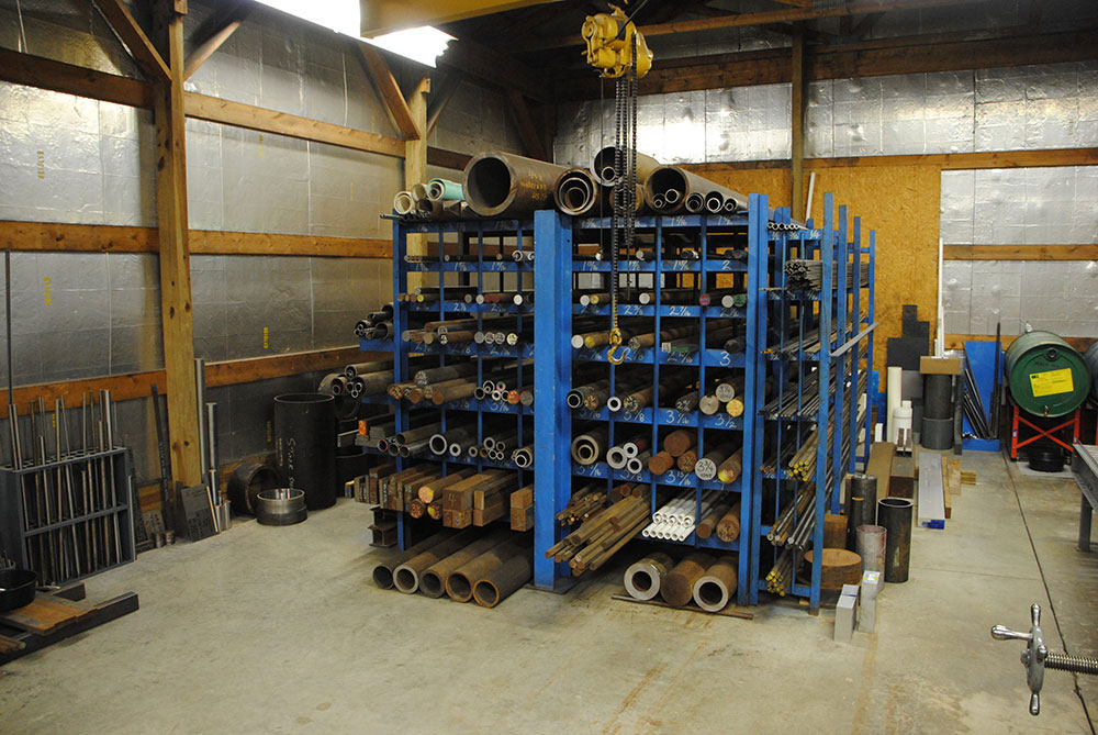 Brass, Bronze, Cast Iron Round, Various Tubing Types, Cold Roll Round, & Metric Round Steel Material Rack