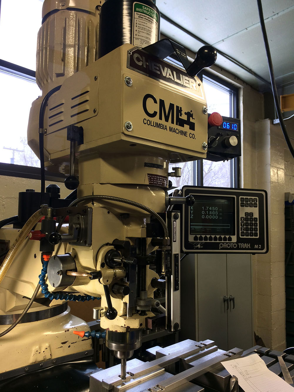 Chevalier Vertical Milling Machine Equipped with Proto Trak M2 2 Axis CNC Control, Servo Variable Speed Frequency Drive, & a Kurt Power draw bar