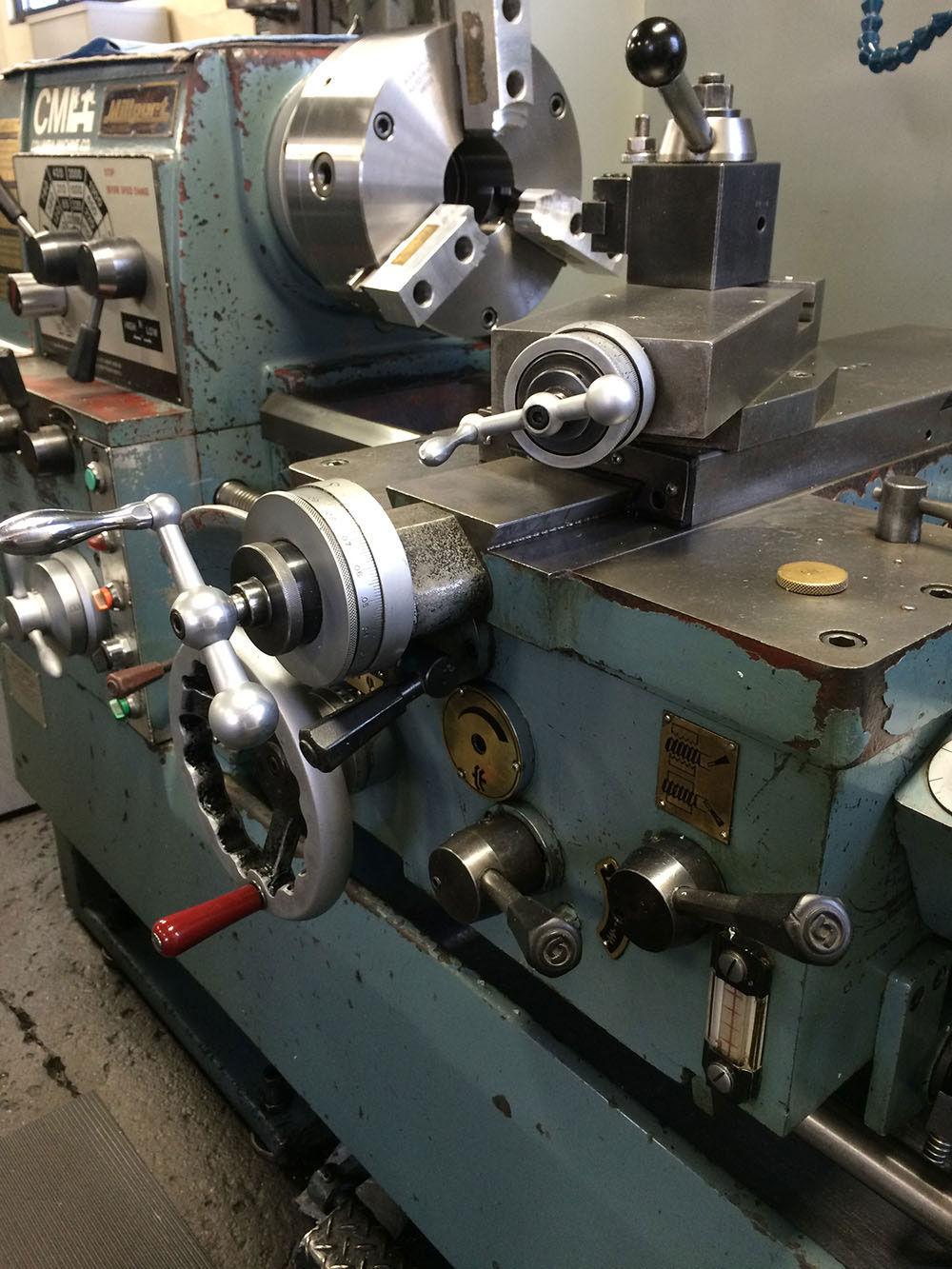 Millport 1740 Manual Lathe Outfitted with a Buck Brand Chuck and Aluminum Soft Jaws